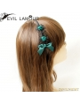 Black and Green Gothic Bow Headdress