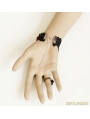 Black and Red Gothic Lace Bead Bracelet Ring Jewelry