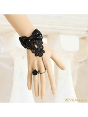 Black Gothic Lolita Butterfly Bracelet Ring Jewelry