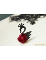 Black and Red Gothic Swan Rose Bracelet Ring Jewelry