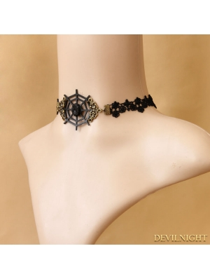 Black Gothic Cobweb Party Necklace