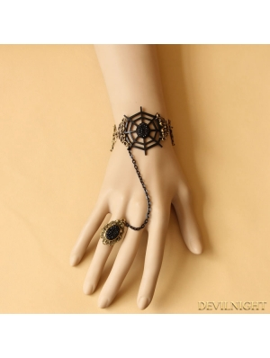 Black Gothic Cobweb Party Bracelet Ring Jewelry