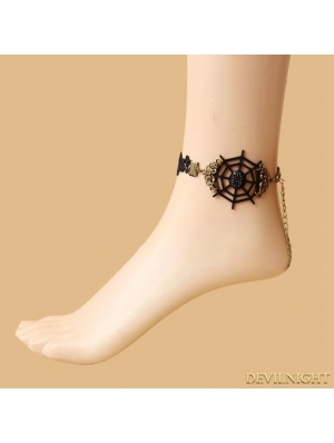 Black Gothic Cobweb Party Ankle Bracelet
