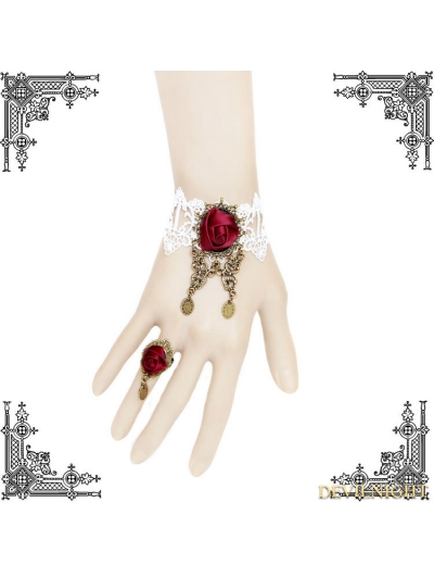 White and Red Gothic Rose Bracelet Ring Jewelry