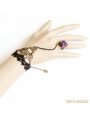 Black Gothic Violet Rose Lace Bracelet Ring Jewelry