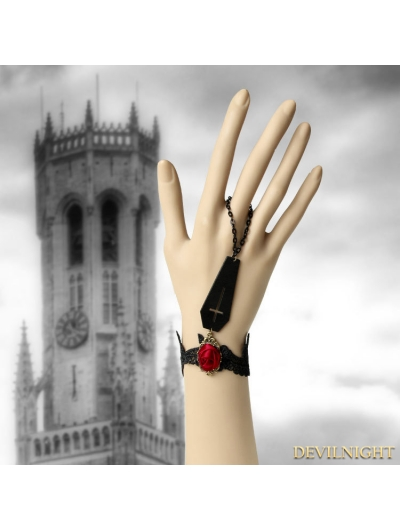 Black Gothic Vampire Red Rose Bracelet
