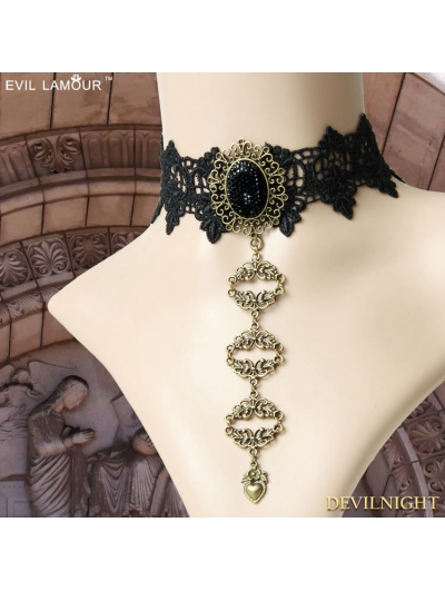 Black Gothic Vintage Lace Cosplay Necklace