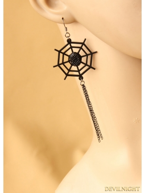 Black Gothic Cobweb Party Earring