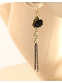 Black Gothic Rose Tassel Earring