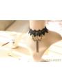Black Gothic Rose Elegant Tassel Necklace