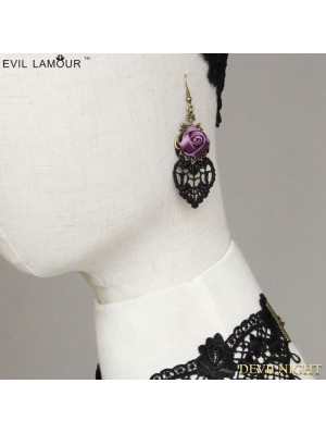 Black and Violet Gothic Rose Earring
