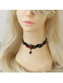 Black Gothic Ruby Lace Necklace