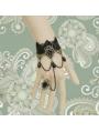 Black Gothic Elegant Bead Lace Bracelet Ring Jewelry