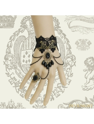 Black Gothic Palace Style Bead Lace Bracelet Ring Jewelry