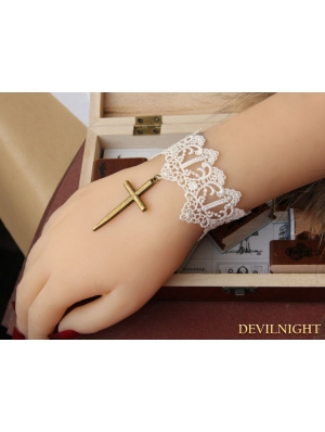 White and Bronze Vintage Lace Cross Bracelet