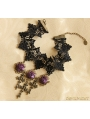 Black Gothic Lace Violet Flower Cross Necklace