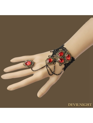 Black Gothic Vampire Ruby Bracelet Ring Jewelry