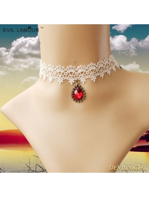 White Elegant Wedding Ruby Necklace