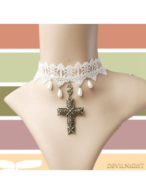 White Vintage Lace Pearl Cross Pendant Necklace