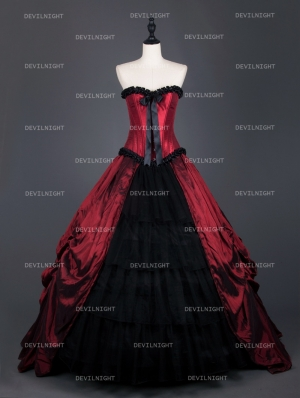 Red Gothic Corset Long Prom Ball Gowns