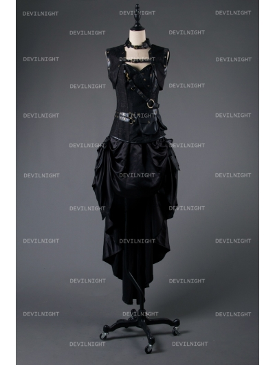 Black Steampunk Gothic Corset Burlesque High-Low Prom Party Dress