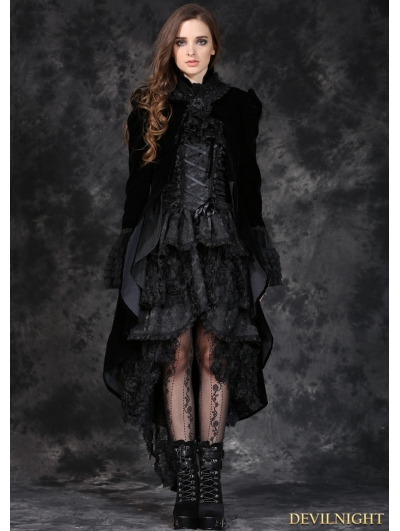 Black Velvet Women's Gothic Jacket with Removable Bowtie and Lace Shawl