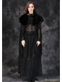 Black Lace Long Cape with Fur Collar