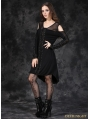 Black Gothic Punk Off-the-Shoulder Shirt Dress