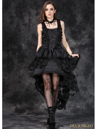 Elegant Black Gothic Jacquard Fishtail Dress