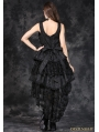 Elegant Black Gothic Jacquard Fishtail Dress
