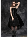 Black Gothic Punk Velet Dress with Jacquard Lace