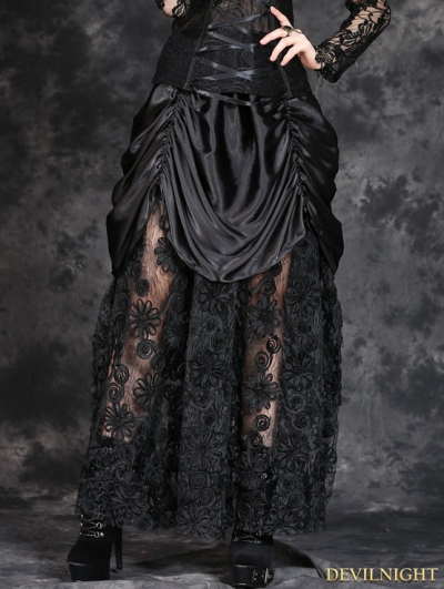 Black Gothic Satin Long Skirt