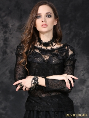 Black Gothic Elegant Sexy Soft T-Shirt for Women