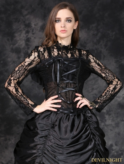 Black Gothic Sexy Corset-Look T-Shirt for Women