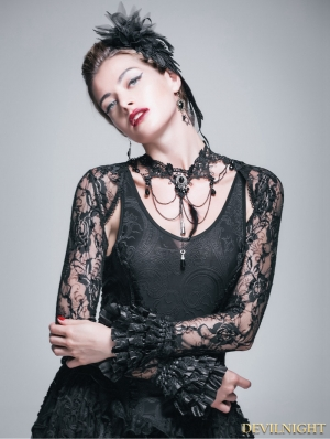 Black Lace Long Sleeves Cape for Women