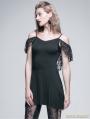 Black Gothic Off-the-Shoulder Long Shirt for Women