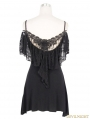 Black Gothic Off-the-Shoulder Long Shirt for Women