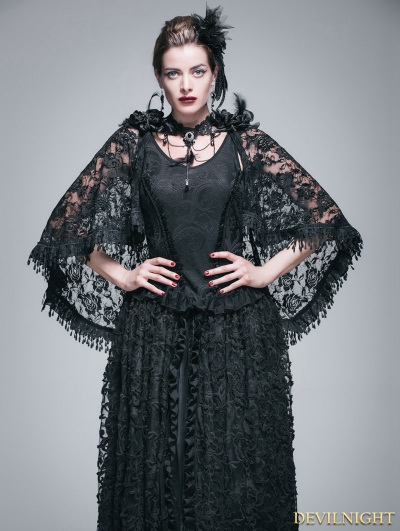 Black Gothic Jacquard Knitting V-Neck Vest with Lace Cape