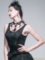 Black Gothic Jacquard Knitting V-Neck Vest for Women