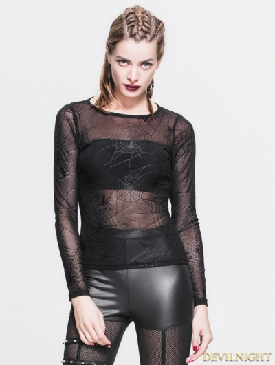 Black Spider Web Gothic Shirt for Women