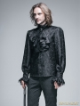 Black Palace Style Men's Gothic Blouse with Removable Tie