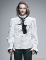White Palace Style Men's Gothic Blouse with Removable Tie