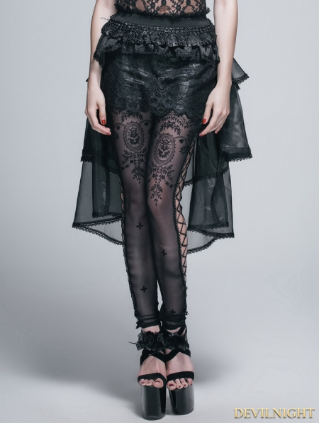 black lace and gauze high low skirt devilnight co uk