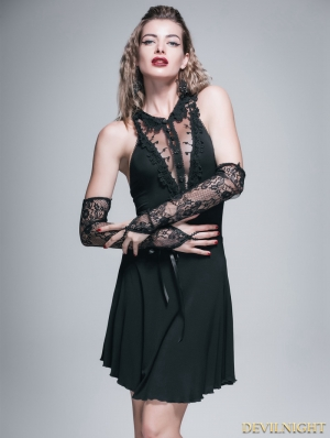 Black Gothic Sexy Short Dress