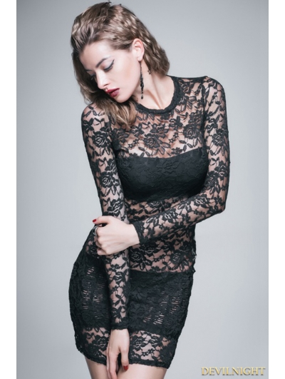 Black Lace Gothic Sexy Short Dress