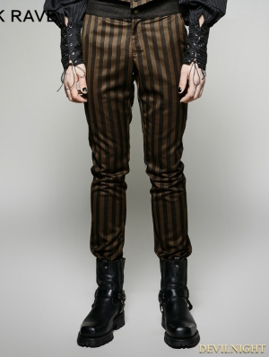Stripes Steampunk Industrial Revolution Style Pants for Men