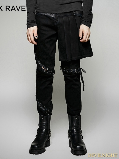 Black Gothic Punk Removable Skirts Pants for Men