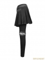 Black Gothic Punk Removable Skirts Pants for Women