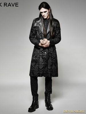 Vintage Black Pattern PU Leather Gothic Coat for Men