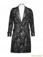 Vintage Black Pattern PU Leather Gothic Coat for Men